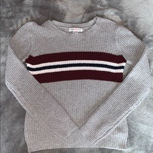 grey, maroon, black, and white sweater NEVER WORN!